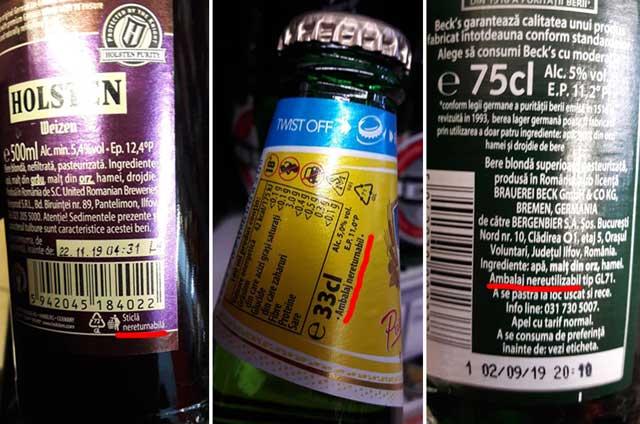 Garanția pentru sticle - doar o proastă glumă de 50 de bani